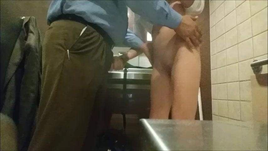 Hot Brunette Public Bathroom